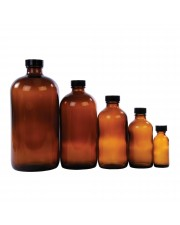 Amber Bottles, Boston Round,  w/Cap
