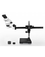 Parco Scientific PA-2AEZ-IFR07 Binocular Zoom Stereo Microscope, 10x WF Eyepiece, 0.7x—4.5x Zoom, 3.5x—90x Magnification, 0.5x & 2x Auxiliary Lens, Gliding Arm Boom Stand, 144-LED Ring Light with Intensity Control