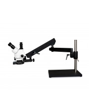 PA-9F-IFR08 Simul-Focal Trinocular Zoom Stereo Microscope - 0.7X - 4.5X Zoom Range, 144-LED Four-Zone Ring Light
