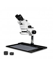 PA-10FZ-IFR07 Simul-Focal Trinocular Zoom Stereo Microscope - 0.7X - 4.5X Zoom Range, 0.5X & 2.0X Auxiliary Lenses, 144-LED Ring Light