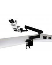 PA-7FZ-IFR07 Simul-Focal Trinocular Zoom Stereo Microscope - 0.7X - 4.5X Zoom Range, 0.5X & 2.0X Auxiliary Lenses, 144-LED Ring Light