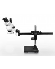 Parco Scientific PA-2AF-IFR07 Trinocular Zoom Stereo Microscope, 10x Widefield Eyepiece, 0.7x—4.5x Zoom Range, 7x—45x Magnification Range, Gliding Arm Boom Stand, 144-LED Ring Light with Intensity Control
